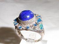 Damen handgefertigte gepunzt 925 Sterling Silber Emaille & Lapislazuli Ring