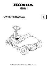 HONDA Ride On Falciatrice H1011 Proprietari Manuale 1993 EDIZIONE, RISTAMPA Pettine vincolato