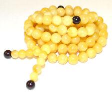 45g 9mm Prayer Beads Authentic Baltic Egg Yolk Amber Necklace (mi la) AH393MM9