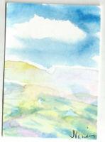 SUNNY MOUNTAINS Original Watercolor Landscape Painting ACEO small ART mini ATC