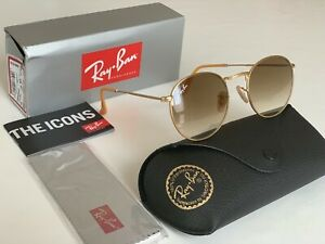 Ray-Ban Round Metal Gold-Brown Gradient Lens RB3447 112/51 Standard Size 50