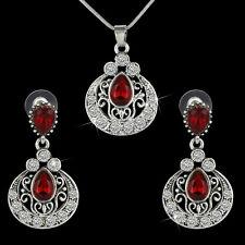 Women Silver Jewelry Set Turkish Waterdrop Ruby Crystal Earrings Necklace Set