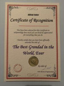 Birthday Christmas Gift Present Best Mum Dad Boyfriend Husband A5 Certificate BG