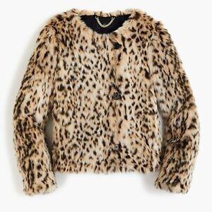 J. Crew Women's Cropped Faux-Fur Snow Leopard Coat J6148 Size XS