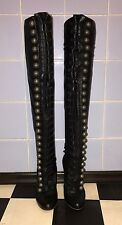 Christian Louboutin Supra Fifre Black Leather Thigh-High Boots Euro 37 / US 7