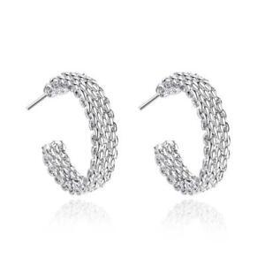 925 Sterling Silver Hoop Earrings Stud Textured Butterfly Elegant UK Seller