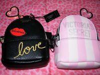 Victorias Secret Signature Stripe / Black Key Chain BAG CHARM MINI BACKPACK NWT