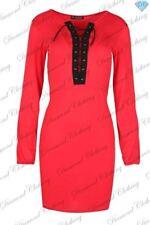 Vestiti da donna a manica lunga rossa corto, mini