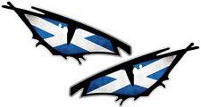 Pair Of EVIL Eyes Eye Scottish Saltire Flag car Helmet Drone Sticker 50x25mm