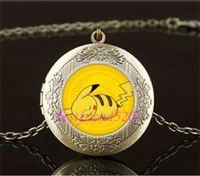 Pokemon Pikachu Cabochon LOCKET Pendant Bronze Chain Necklace USA Shipper #125
