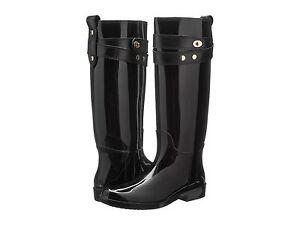COACH TALIA BLACK TALL GOLD TURN LOCK LOGO RUBBER RAIN BOOTS A7850 I LOVE SHOES