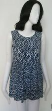 F&e - Blue/White,Floral, Elastic Waist, Unlined,Sleeveless, Mini Dress size 12