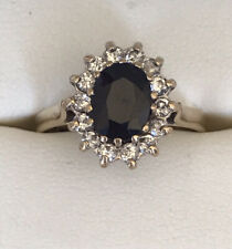 9ct Yellow Gold Sapphire & Diamond Ring Size N Diana Cocktail Engagement