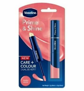 Vaseline Prime & Shine 2 in 1 Lip Balm & Lip Gloss WARM NUDE Care Colour Duo