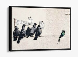 BANKSY RACIST PIGEONS -FLOAT EFFECT CANVAS WALL ART PIC PRINT- BEIGE GREEN WHITE