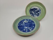 19th Century Antique Chinese Export Blue & White Celadon Porcelain Plate(2)