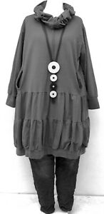 """PLUS SIZE CHARCOAL JERSEY COTTON BALLOON LARGE COLLAR TUNIC BUST UP TO 50""""L-XL"""