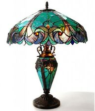 """Tiffany Style Table Lamp Bedroom Stained Glass 18"""" Shade Night Light In Base New"""