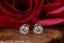 2.00ct Round Bezel Set Screw Back Diamond Earrings 14ct Solid White Gold