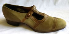 Vintage 1920s Brown Suede & Leather Shoes Heels Size 5 1/2
