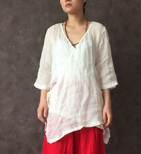 Sparse linen fabric pink/white transparant retro chinese style design blouse top
