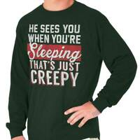 Sees You When Youre Sleeping Merry Christmas Long Sleeve Tshirt Tee for Adults