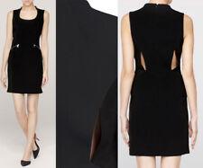 ff81c75a0c Rag   Bone Lauren Black Stretch Crepe Leather Suede Panel Dress 10