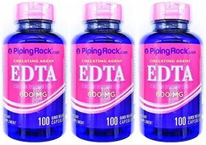 3 Bottles 600mg EDTA 100/300 Capsules Calcium Disodium Chelating Agent