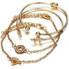 4pcs Ladies Gold Leaf Knot Diamond Charms Opening Bangle Chain Bracelet Jewelry