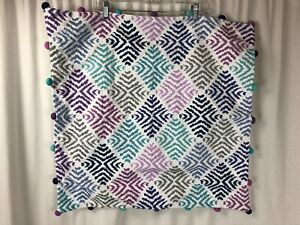 """Pottery Barn Teen POM POMS Geometric Embroidery 24"""" X 24"""" Pillow Cover Sham"""