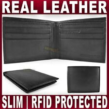 SLIM BLACK REAL LEATHER WALLET up to 8 Credit card slots QUALITY Men's Gents NEW