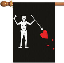 Toland Blackbeard's Jolly Roger 28 x 40 Pirate Skeleton Spear Heart House Flag