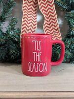 Rae Dunn 'TIS THE SEASON Red Coffee Mug with white stitching Christmas 2020
