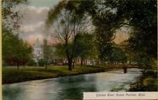 1909 Clinton River Scene Pontiac Michigan MI Postcard C22