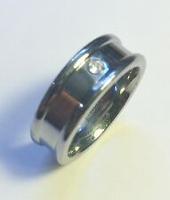 "Stunning Tungsten Men's Wedding Ring ""Wide Band Sigle CZ Design"" Size 12 T015"