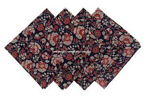 "Dabu Block Print Cotton Table Napkin 16"" x 16"" Blue 4 PC's Set Indian Fabric"