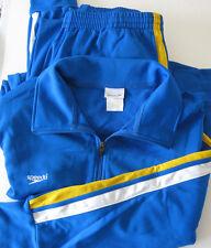 Speedo Men's Warmup Athletic Fitness Jacket & Pants - Blue w White/Yellow XL/L