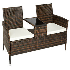 Salon de jardin canapé banc avec table intégrée résine tressée poly rotin marron
