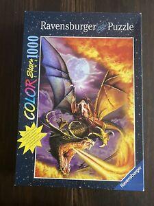 Merlin & dragon 1000 pc jigsaw puzzle RAVENSBURGER glow in the dark STAR LINE