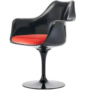 Fusion Living Black and Red PU Tulip Style Armchair