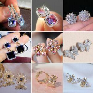 Elegant Women Zircon Drop Dangle Earrings Crystal Earrings Wedding Jewelry Gift