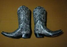 WOMENS OLD GRINGO SILVER EMBROIDERED TOOLED LEATHER COWBOY WESTERN BOOTS 7.5 B