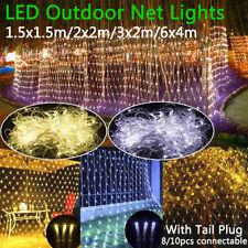 Waterproof LED Fairy String Lights Curtain Mesh Net Wedding Party Garden Outdoor