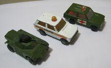 Matchbox Rolamatics 2 Police Patrol Cars & No.73 Weasel Tank  T*