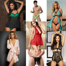Sexy Men Woman Chic Flora Lace Sheer Mesh Babydoll Chemise Robe Bikini Lingerie