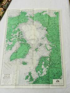 "1950 (ca), 21.5"" by 16.5"" MAP OF NORTH POLAR REGION BY NATIONAL TRAVEL CLUB"