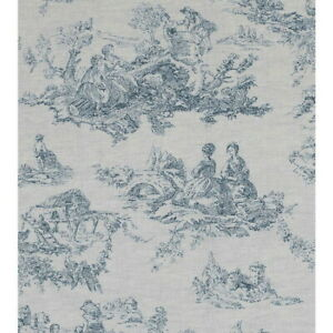 Curtains - Cabbages and Roses - Toile De Poulet Natural French Blue