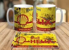 SHELL OIL VINTAGE DISTRESSED SHELL OIL CAN MUG RETRO