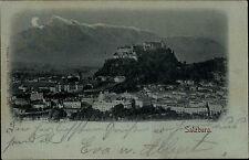 Salzburg Österreich ~1900 Mondschein-AK Panorama Totale Burg Festung Alpen Berge