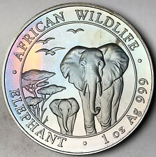 2015 SOMALIA 100 SHILLINGS AFRICAN WILDLIFE ELEPHANT .999 SILVER DEEP TONED (DR)